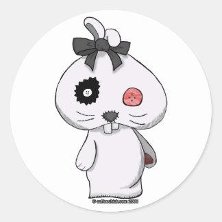 Conejito blanco del Beanbag Etiqueta Redonda