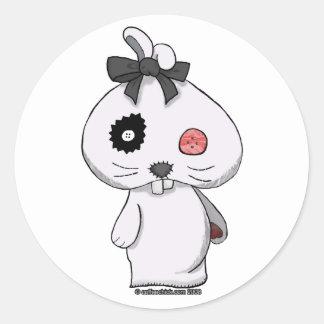 Conejito blanco del Beanbag Pegatinas Redondas