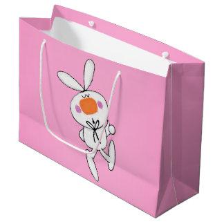 Conejito blanco del conejo del dibujo animado bolsa de regalo grande