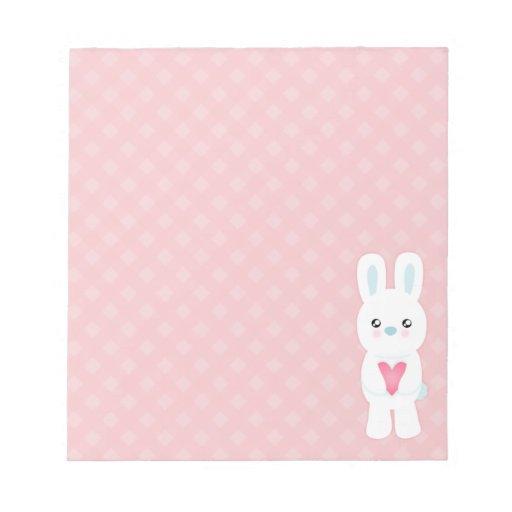 Conejito blanco dulce blocs de papel