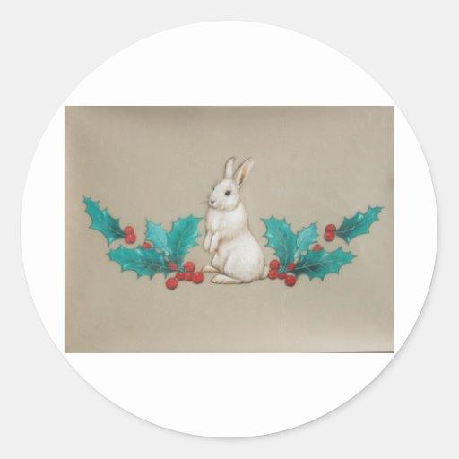 Conejito blanco pegatina redonda