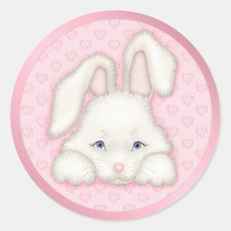 Conejito blanco - rosa pegatina redonda