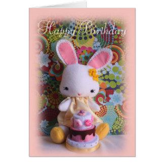 Conejito colorido del bebé con la tarjeta de