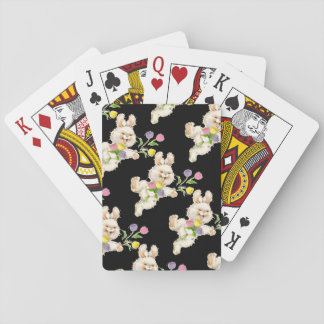 Conejito con el dibujo animado de las flores cartas de póquer