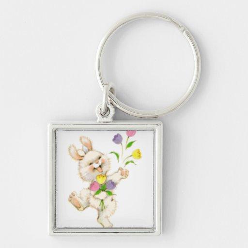 Conejito con el dibujo animado de las flores llavero cuadrado plateado