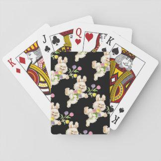 Conejito con el dibujo animado de las flores cartas de juego