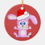 Conejito con el gorra de Santa - ornamento del Ornamento De Navidad