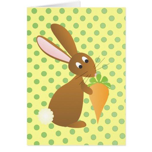 Conejito con la zanahoria premiada tarjeta pequeña