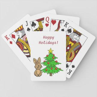 Conejito con un árbol de navidad cartas de juego