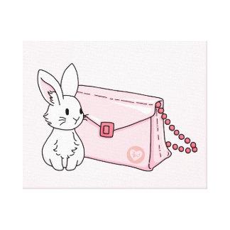 Conejito con un monedero rosado impresión en lona estirada