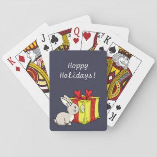 Conejito con un regalo de vacaciones baraja de cartas