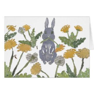 Conejito, conejo, dientes de león tarjeta de felicitación