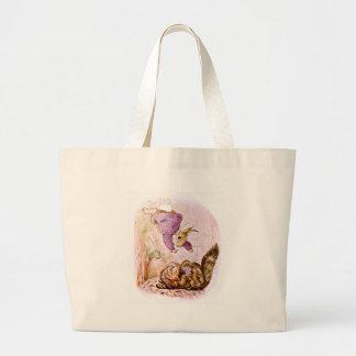 Conejito contra ilustraciones del gato bolsas de mano