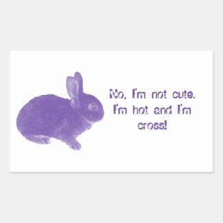Conejito cruzado caliente para Pascua Pegatina Rectangular