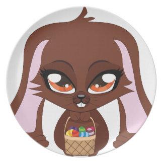Conejito de Brown con los huevos de Pascua Platos De Comidas