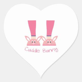 conejito de la abrazo del conejito pegatina en forma de corazón