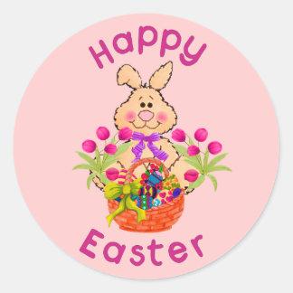 Conejito de la cesta de Pascua Pegatina Redonda