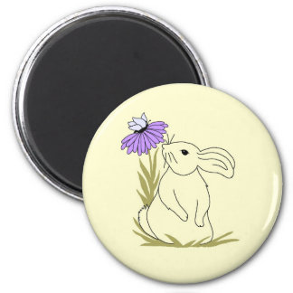 Conejito de la flor de la lavanda imanes
