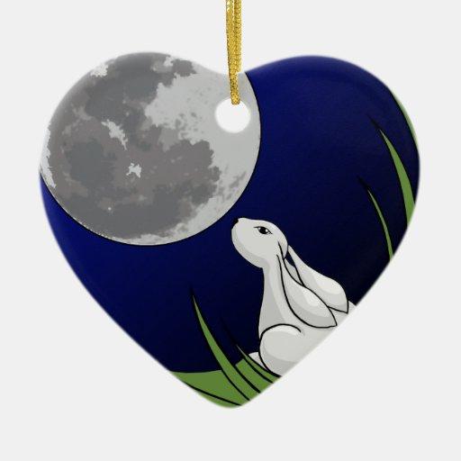 Conejito de la luna adorno de cerámica en forma de corazón