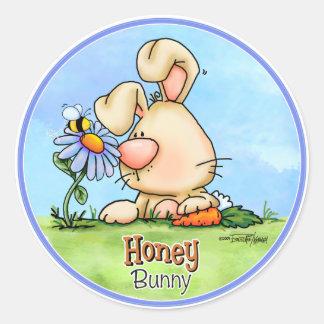 Conejito de la miel de Pascua Pegatina Redonda