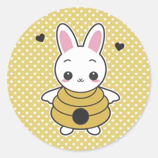 Conejito de la miel pegatina redonda