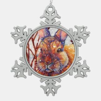 Conejito de la nieve - ornamento del conejo del adorno de peltre en forma de copo de nieve