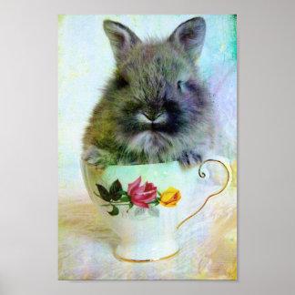 Conejito de la taza de té póster
