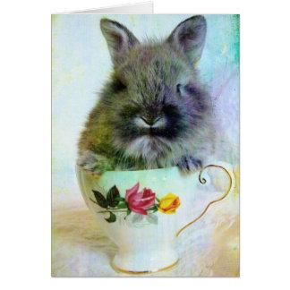 Conejito de la taza de té tarjeta de felicitación