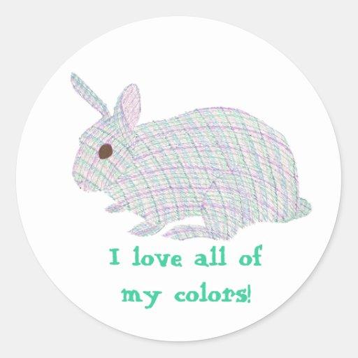 Conejito de la tela escocesa, amo todos mis colore etiquetas redondas
