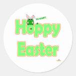 Conejito de lúpulo de la rana de Pascua Etiquetas Redondas