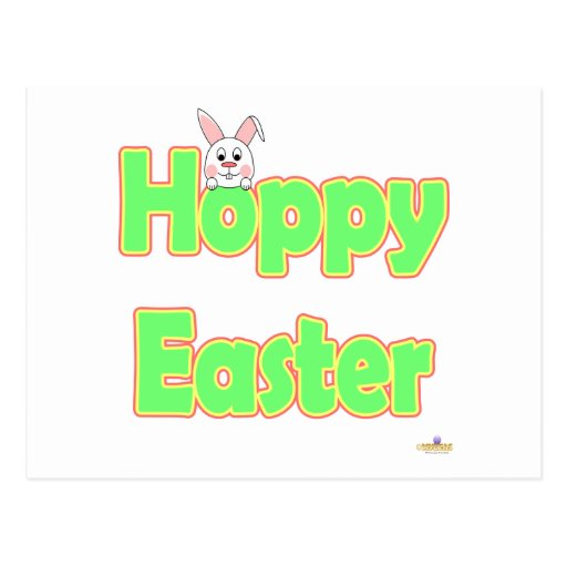 Conejito de lúpulo del blanco de Pascua Tarjetas Postales
