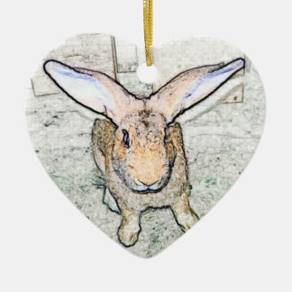 Conejito de mayo adorno navideño de cerámica en forma de corazón