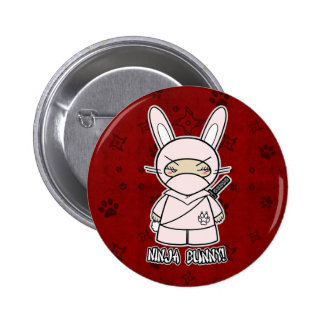 ¡Conejito de Ninja! En botón rojo Pin