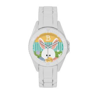 Conejito de pascua amarillo con monograma relojes de pulsera