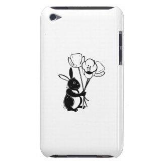 Conejito de pascua con las flores barely there iPod protectores
