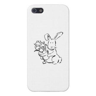 Conejito de pascua con las flores iPhone 5 protectores