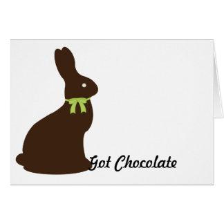 Conejito de pascua conseguido del chocolate tarjeta de felicitación
