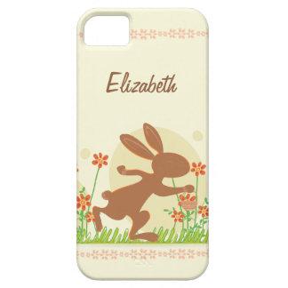 Conejito de pascua del chocolate con las flores iPhone 5 cobertura