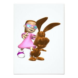 """Conejito de pascua del chocolate invitación 5"""" x 7"""""""