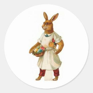 Conejito de pascua del cocinero del huevo pegatina redonda