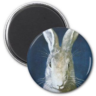 Conejito de pascua del vintage, conejo blanco imán redondo 5 cm