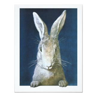 Conejito de pascua del vintage, conejo blanco invitaciones personales