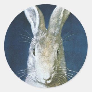 Conejito de pascua del vintage, conejo blanco pegatina redonda