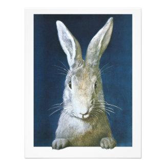 Conejito de pascua del vintage, conejo blanco pelu invitaciones personales