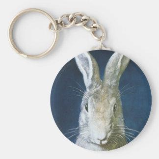 Conejito de pascua del vintage, conejo blanco pelu llaveros