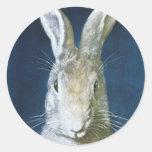 Conejito de pascua del vintage, conejo blanco pelu pegatinas