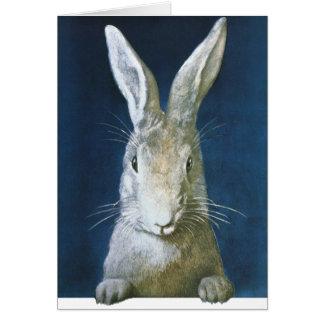 Conejito de pascua del vintage, conejo blanco pelu tarjeta