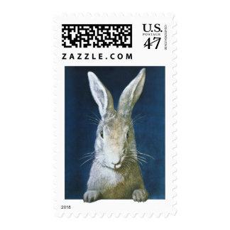 Conejito de pascua del vintage, conejo blanco sello