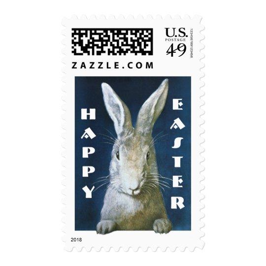 Conejito de pascua del vintage, conejo blanco sello postal