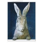 Conejito de pascua del vintage, conejo blanco tarjeta